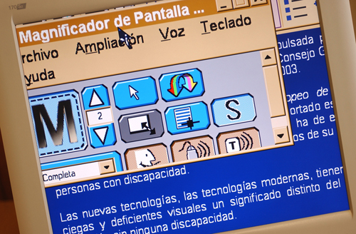 detalle de cómo se aprecia el aumento del tamaño de los caracteres al utilizar un magnificador de pantalla