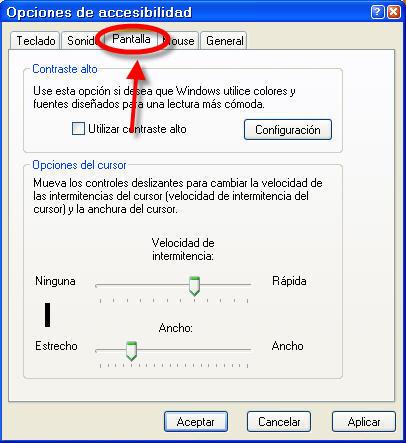 Adaptaci n del indicador del cursor de texto windows for Que es accesibilidad
