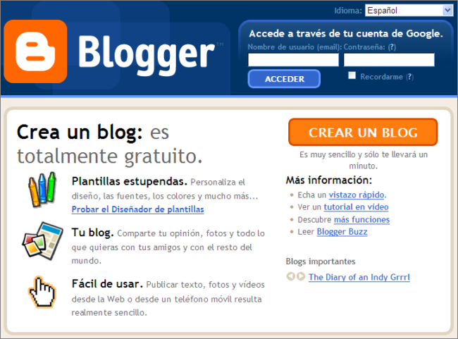 Creación del blog