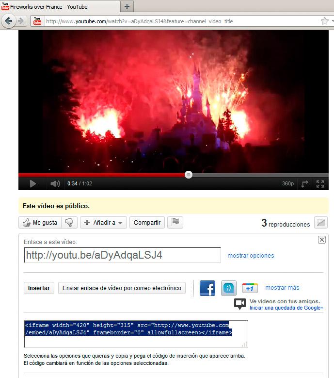 Insertar un vídeo externo | Elementos multimedia