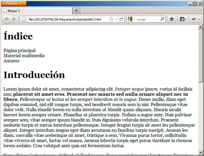La etiqueta div maquetaci n for Cual es la estructura del periodico mural