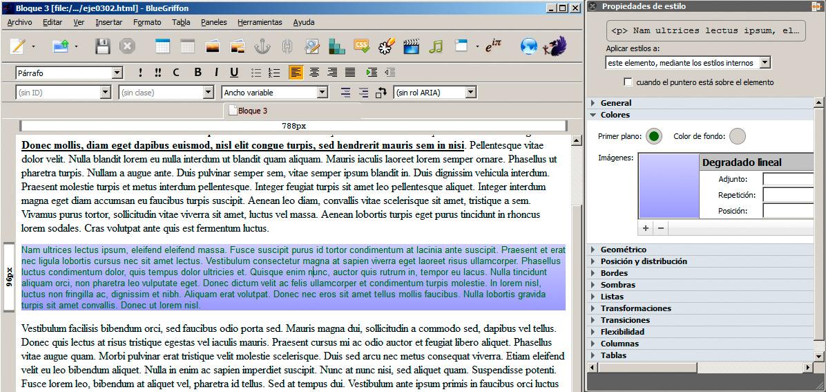 Aplicar estilos con un editor web | Formato del texto