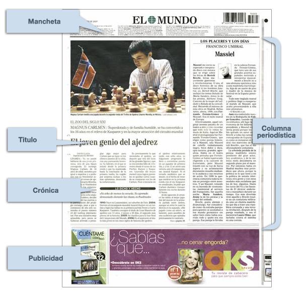 La contraportada la prensa un recurso para el aula for Cuales son las partes del periodico mural