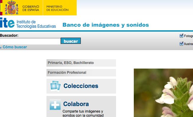 Página web de inicio del Banco de Sonidos e Imágenes del ITE
