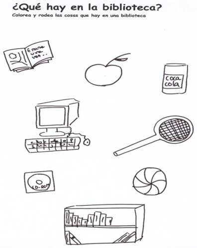 colorear y rodear de una serie de dibujos aquellas cosas que hay en